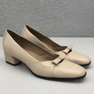 Selby Cream Bow Toe Block Heel Comfort Low Pumps